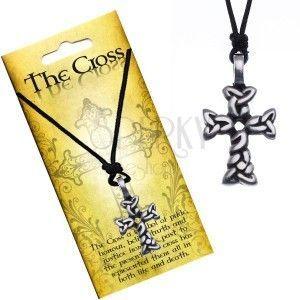 Czarny naszyjnik - sznurek, krzyż z przeplatanych owali obraz
