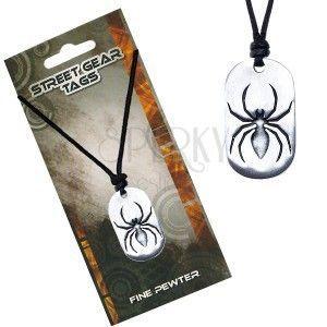 Naszyjnik ze sznurkiem, metalowa zawieszka pająk obraz