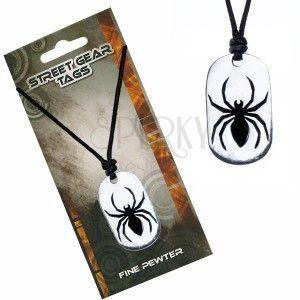 Naszyjnik na sznurku, metalowa zawieszka pająk obraz