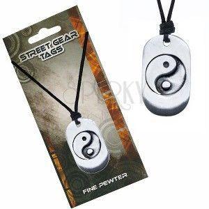 Naszyjnik sznurkowy, metalowa zawieszka z symbolem Yin Yang obraz