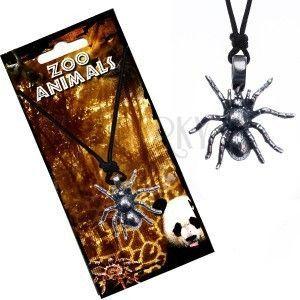 Naszyjnik ze sznurkiem, metalowa zawieszka tarantula obraz