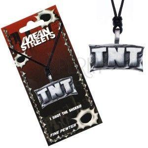 """Naszyjnik sznurkowy, metalowa zawieszka - tabliczka z napisem """"TNT"""" obraz"""