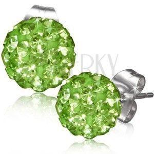 Zielone kolczyki wkrętki, kulki z kamyczkami obraz