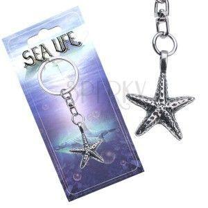 Srebrzysta zawieszka na klucze, metalowa rozgwiazda morska obraz