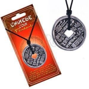Naszyjnik z rzemykiem – moneta, chińskie znaki i piktogramy obraz