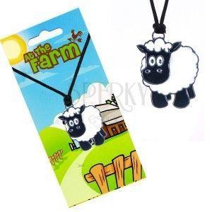 Naszyjnik sznurkowy z zawieszką, czarno-biała owieczka obraz