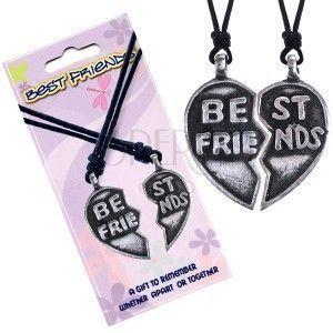 """Naszyjniki BEST FRIENDS- przełamane serce, napis """"Best Friends"""" obraz"""