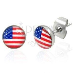 Stalowe kolczyki - flaga amerykańska obraz