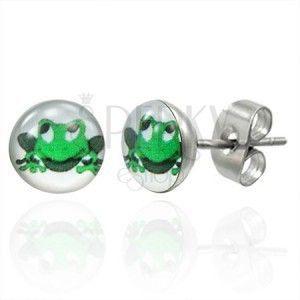Kolczyki ze stali zielona uśmiechnięta żaba obraz