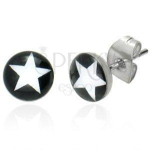 Okrągłe kolczyki sztyfty - biała gwiazda obraz