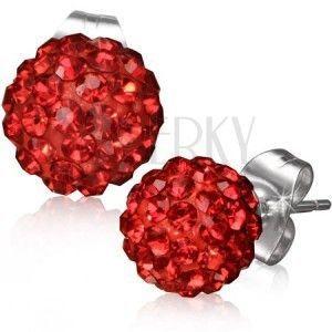 SHAMBALLA kolczyki ze stali - czerwone kuleczki z kamyczkami obraz