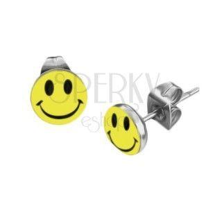 Okrągłe stalowe kolczyki - żółty uśmieszek obraz