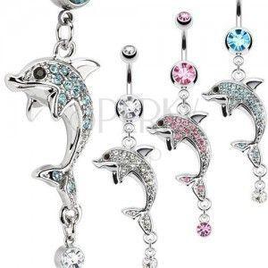 Stalowy kolczyk do pępka, srebrny kolor, delfin, kolorowe cyrkonie obraz