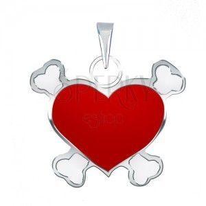 Zawieszka ze srebra 925 z czerwonym pirackim sercem obraz