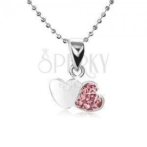 Srebrny naszyjnik 925, łańcuszek z małych kuleczek, dwa serca, różowe cyrkonie obraz