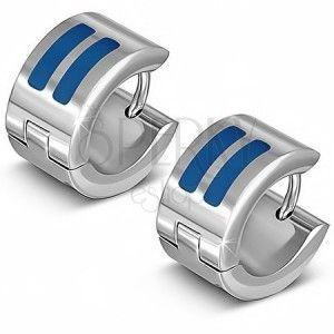 Lśniące kolczyki ze stali kolor srebrny, kółka z niebieskimi paskami obraz