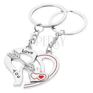 Breloczki do kluczy dla dwojga - dwie połówki serca, strzała, serduszka obraz