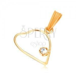 Wisiorek z żółtego złota 9K, cienki zarys symetrycznego serca, przezroczysta cyrkonia obraz