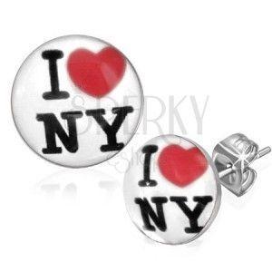 Kolczyki sztyfty ze stali chirurgicznej - białe kółka, I love NY obraz