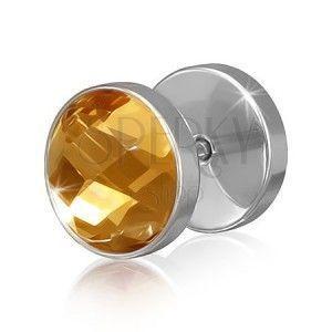 Okrągły stalowy fake piercing do ucha z brązowo-złotą cyrkonią obraz