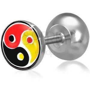 Fake plug do ucha ze stali, kolorowy motyw Yin-Yang obraz