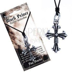 Czarny sznurek na szyję i metalowa zawieszka, podwójny krzyż, liliowe ramiona obraz
