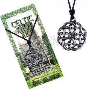Naszyjnik - czarny sznurek i metalowa zawieszka węzeł celtycki obraz