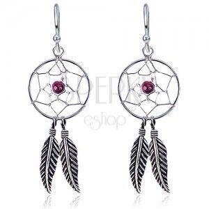 Kolczyki wiszące ze srebra 925 - okrągły łapacz snów, fioletowy koralik obraz