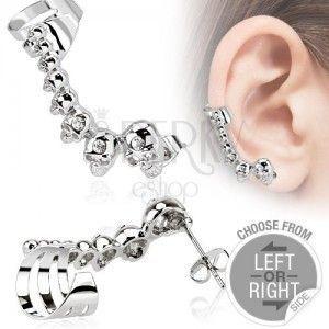 Stalowy fałszywy piercing do ucha, czaszki, małe cyrkonie obraz