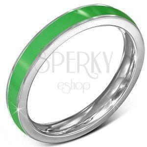 Cieńki stalowy pierścionek - obrączka, zielony prążek, srebrne brzegi obraz