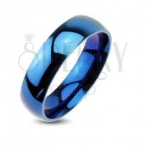 Niebieska metalowa obrączka - gładki pierścionek o lustrzanym połysku obraz