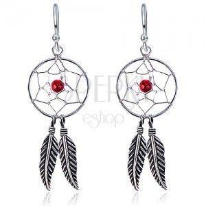 Kolczyki ze srebra 925 - łapacz snów, piórka, czerwony koralik, bigle obraz