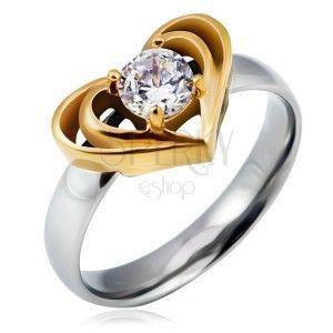 Srebrny stalowy pierścionek ze złotym podwójnym sercem, przeźroczysta cyrkonia obraz