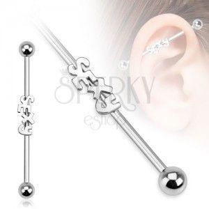 Stalowy piercing do ucha - sztanga z napisem SEXY i kulkami obraz