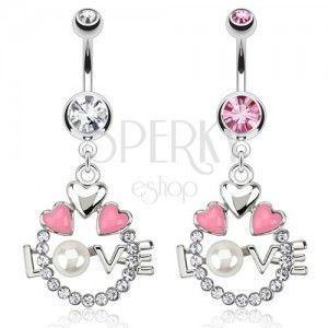 Stalowy piercing do pępka - kółko, serca, napis LOVE z perłą obraz