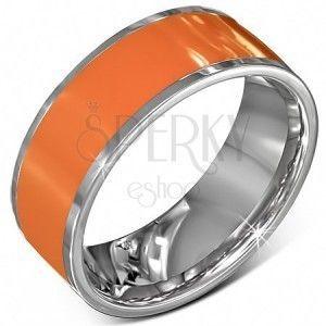 Gładka stalowa obrączka w kolorze pomarańczowym ze srebrnymi brzegami obraz