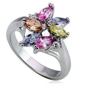 Błyszczący stalowy pierścionek kwiat, kolorowa łza i okrągłe cyrkonie obraz