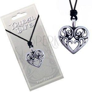 Sznurkowy naszyjnik - lśniąca metalowa zawieszka, serce z ornamentami obraz