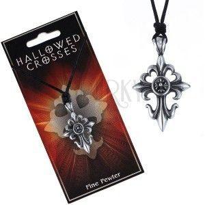 Czarny sznurek na szyję z zawieszką liliowego krzyża z kółkiem obraz