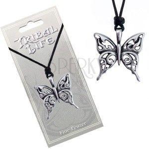 Naszyjnik ze sznurkiem - wycinana patynowana zawieszka motyla obraz