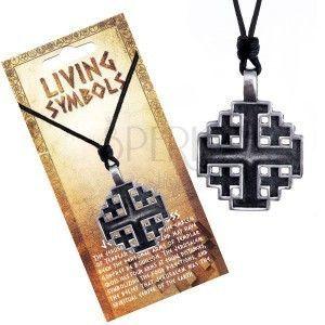 Naszyjnik sznurkowy - metalowa zawieszka, krzyż jerozolimski obraz