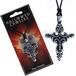 Sznurek na szyję z zawieszką krzyż z kwiecistymi wzorami obraz