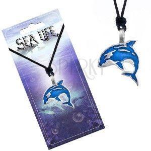 Naszyjnik sznurkowy, czarny, metalowa zawieszka niebieska orka obraz