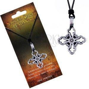 Naszyjnik - czarny sznurek i metalowa zawieszka, krzyż liliowy obraz