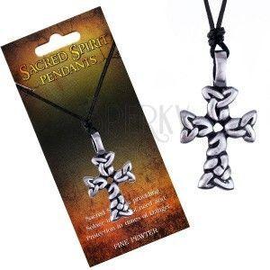 Czarny naszyjnik – sznurek, zawieszka krzyż ze splecionych owali obraz