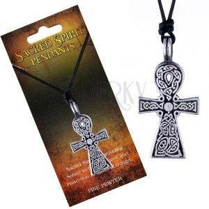 Czarny naszyjnik sznurkowy, zawieszka krzyż Sacred Spirit, węzły celtyckie obraz