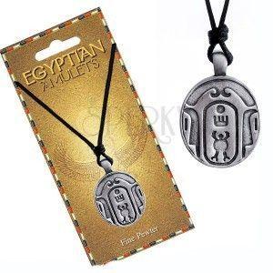 Naszyjnik - czarny sznurek, metalowa zawieszka, owalny egipski amulet obraz
