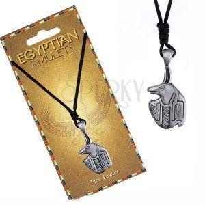 Naszyjnik - czarny sznurek, metalowa zawieszka, egipski amulet Anubis obraz