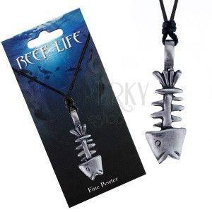 Naszyjnik - sznurek i metalowa zawieszka, patynowany szkielet ryby obraz