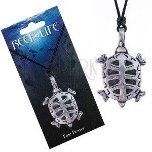 Naszyjnik - sznurek, metalowa zawieszka, wycinany żółw obraz